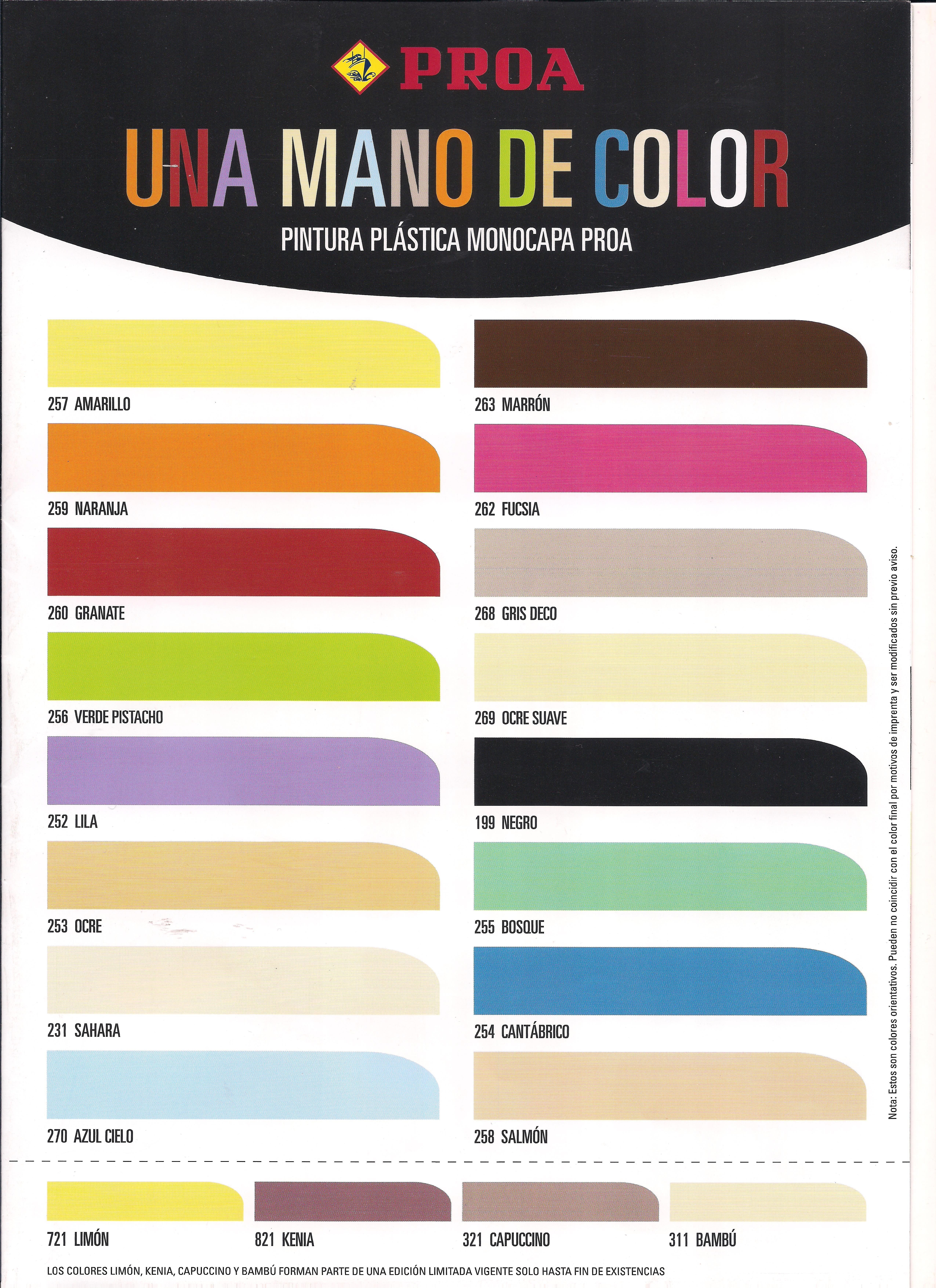 Pintura monocapa colores