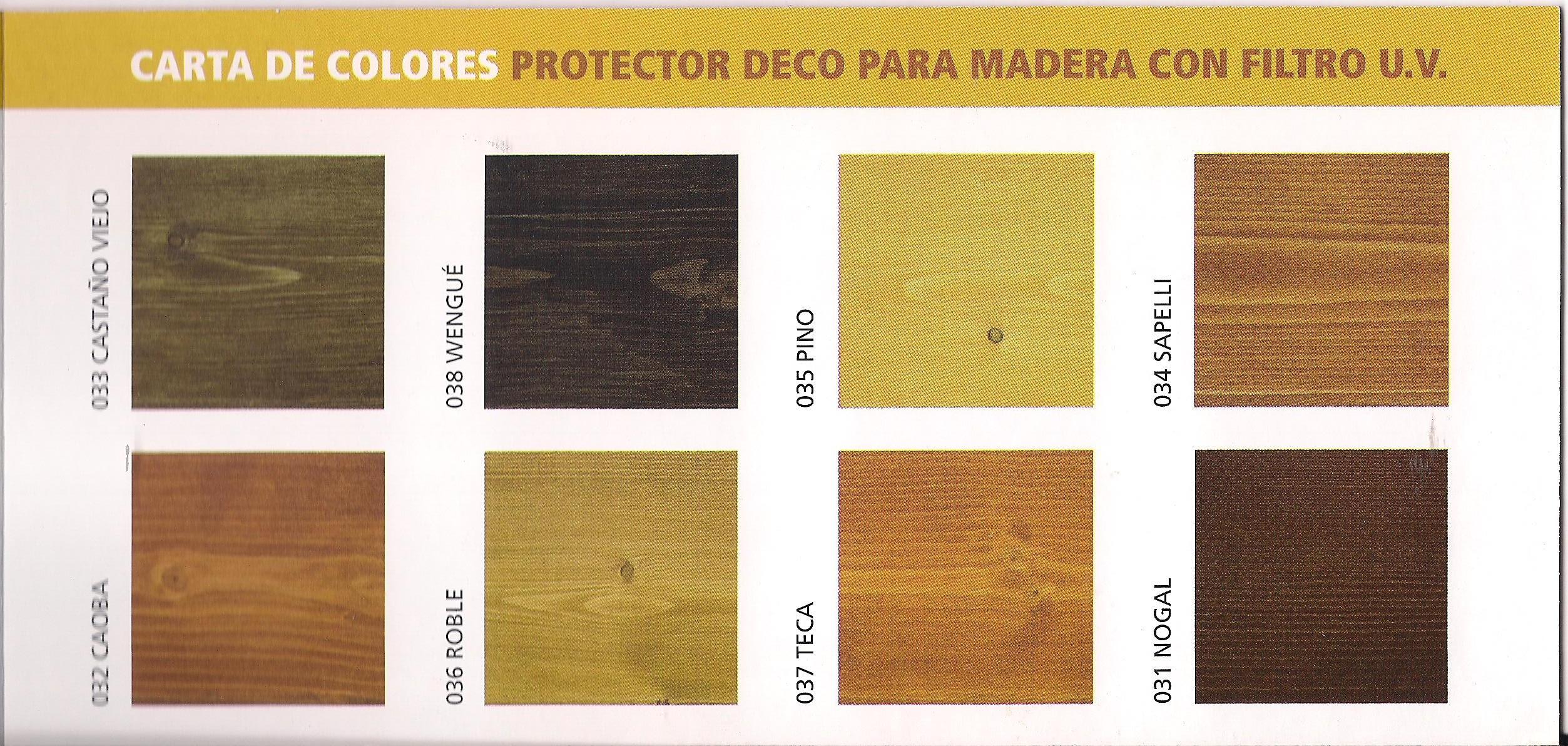 Carta de colores del protector decorativo pinturas blog - Barniz para madera colores ...